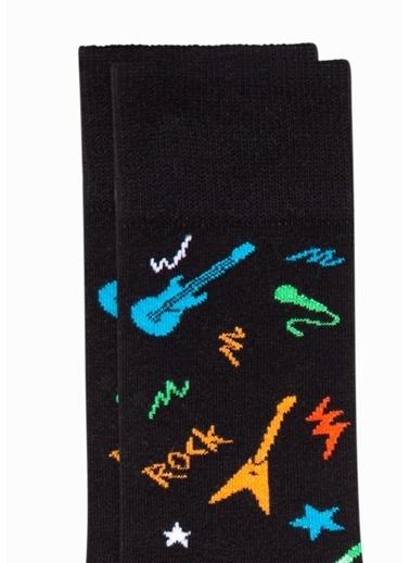 Mavi Gitar Desenli  Soket Çorap Siyah